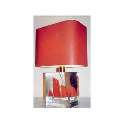 Petite Lampe Rectangle Chaloupe Rouge & Blanc Abat-jour Rectangle Rouge-105