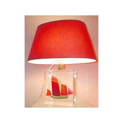 Petite Lampe Chaloupe Rouge & Vert Abat-jour Ovale Rouge-87