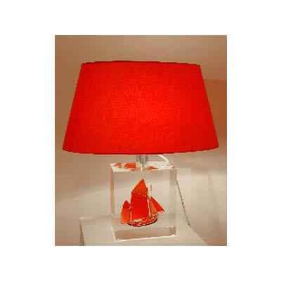 petite lampe thonier can 23 noir rouge abat jour ovale rouge 98 1 dans les lampes. Black Bedroom Furniture Sets. Home Design Ideas