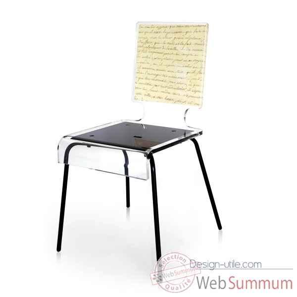 chaise graph calligraphie pieds m talliques acrila dans chaise sur design utile. Black Bedroom Furniture Sets. Home Design Ideas