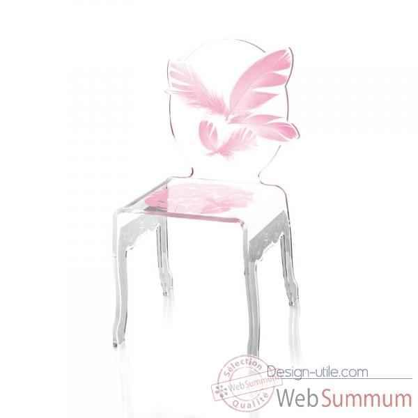 Chaise Plume Enfant Rose Acrila Chper
