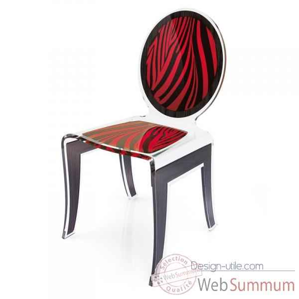 Chaise wild zebre rouge acrila -cwzrou