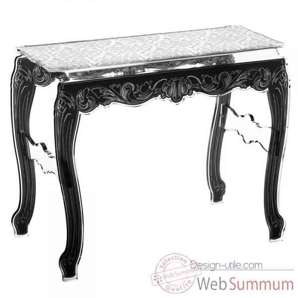 Table console baroque blanche acrila -tcbb