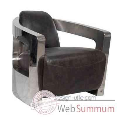 fauteuil mars en cuir couleur caf avec finition en acier. Black Bedroom Furniture Sets. Home Design Ideas