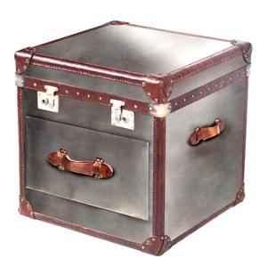 malle ampleforth en cuir naturel blanc et brun avec un tiroir h 600 x 590 x 590 arteinmotion bau. Black Bedroom Furniture Sets. Home Design Ideas
