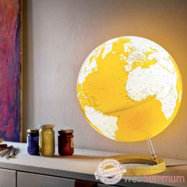 Globe lumineux light and colour jaune en anglais