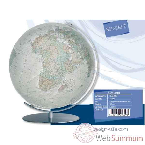 Globe lumineux colombus diam 34 blanc casse co233481
