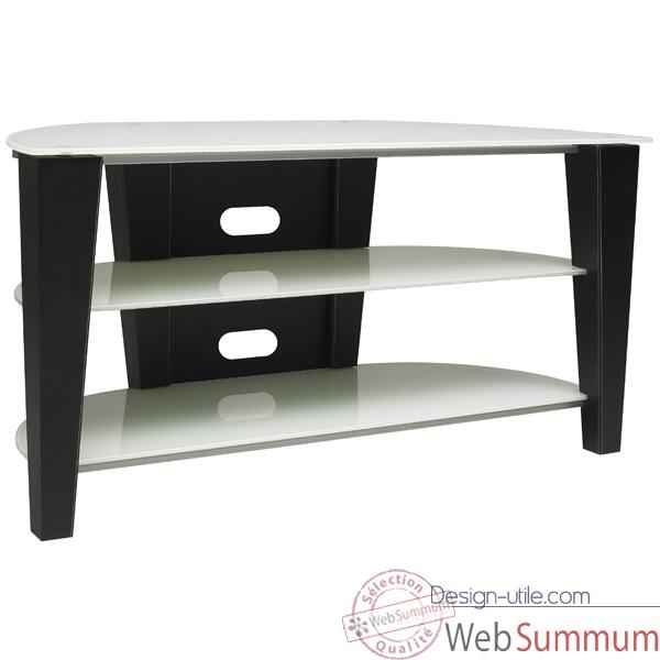 Meubles Hifi et video Norstone Century AV, design contemporain finition cuir pique, etagere en verre laque blanc - (dim. ext. L1100 x H550 x P500 mm)