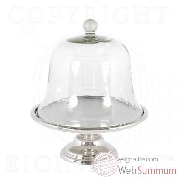 Eichholtz plat a gateau standard with glass   nickel et verre -acc05210