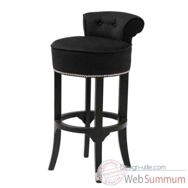 eichholtz tabouret de bar sophia loren noir velours et. Black Bedroom Furniture Sets. Home Design Ideas
