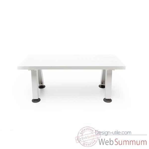 Banc marina cadre en acier laqué blanc + plateau de table en fibre ...