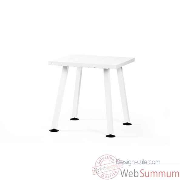 Table bar marina cadre en acier laqu blanc plateau de - Plateau de table blanc laque ...