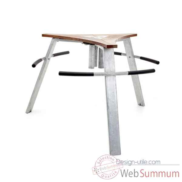 Table cocktail abachus iroko fscpur, avec grand cendrier Extremis -ALW