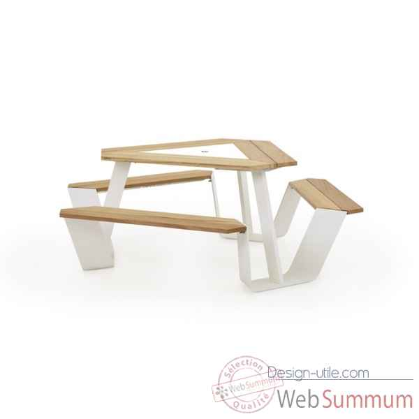 Table picnic anker cadre galvanise & pieds laques blanc, h.o.t.wood Extremis -ANWH