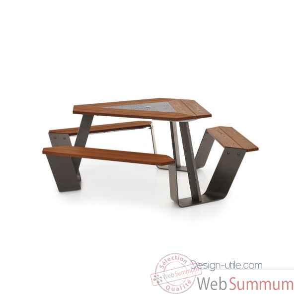 Table picnic anker cadre galvanise & pieds laques earth iroko Extremis -ANEI