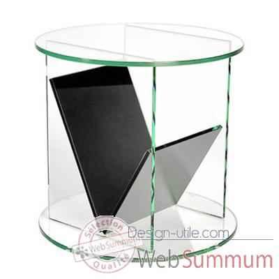gu ridon marais rond en verre clair recuit dans mobilier d. Black Bedroom Furniture Sets. Home Design Ideas