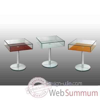 gu ridon marais en verre avec plateau inf rieur rouge de meuble design marais design. Black Bedroom Furniture Sets. Home Design Ideas