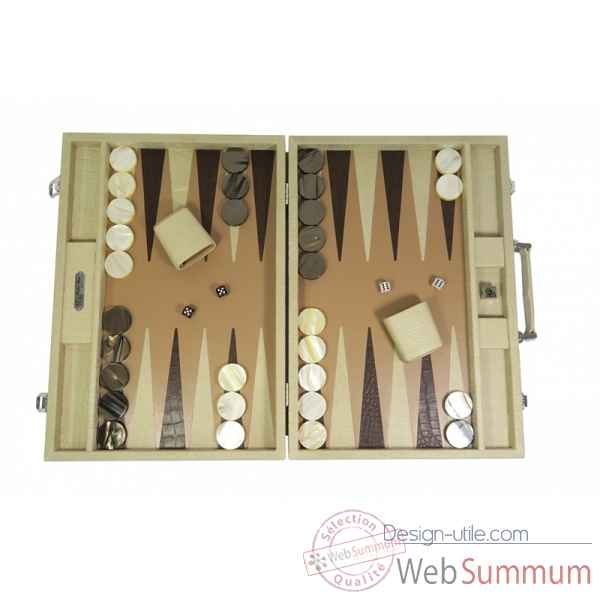 Backgammon alain cuir facon alligator competition ciel -B672-c