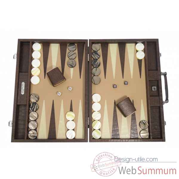 Backgammon alain cuir facon alligator competition havane -B672-h