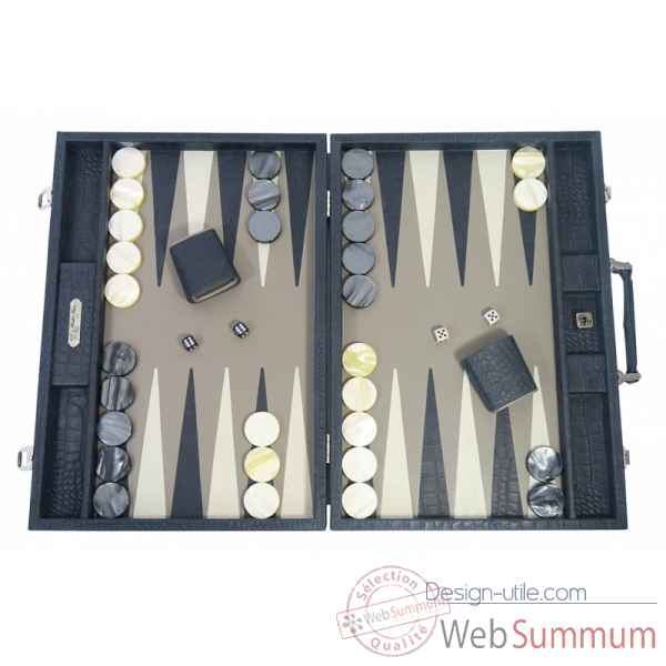 Backgammon alain cuir facon alligator competition petrole -B672-p
