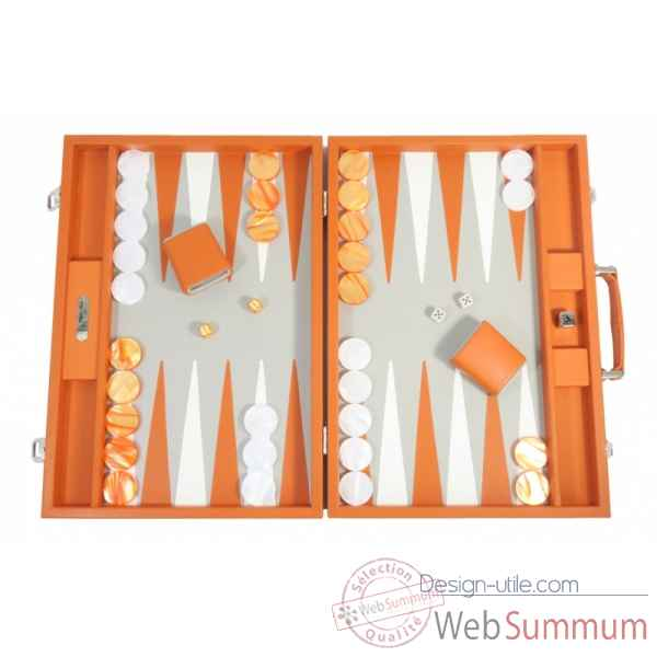 Backgammon baptiste cuir buffle competition orange -B652-o