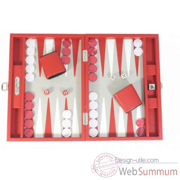 Backgammon baptiste cuir buffle medium rouge -B52L-r