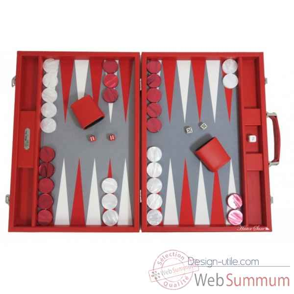 Backgammon basile toile buffle competition rouge -B620-r