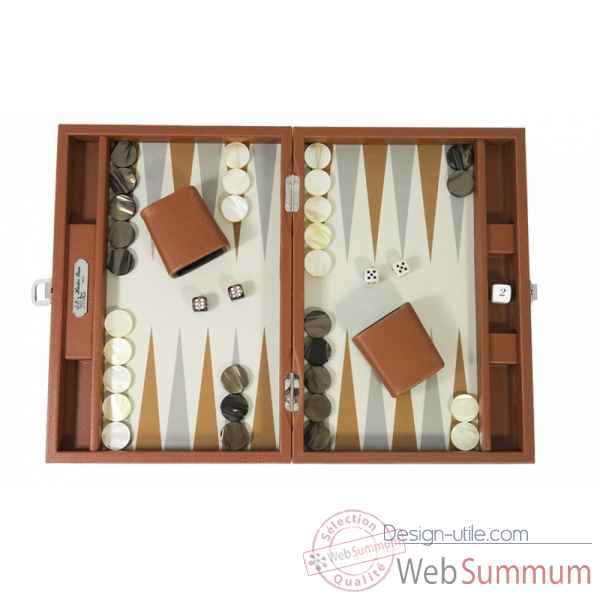 Backgammon basile toile buffle medium chataigne -B20L-c