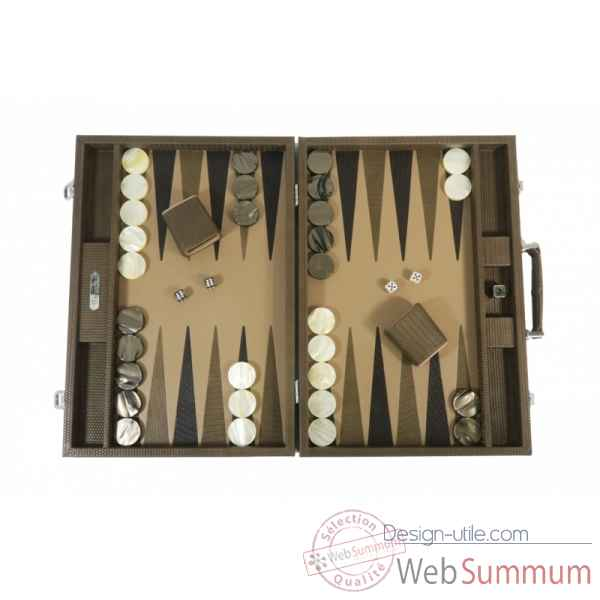 Backgammon camille cuir couture competition terre -B671L-t