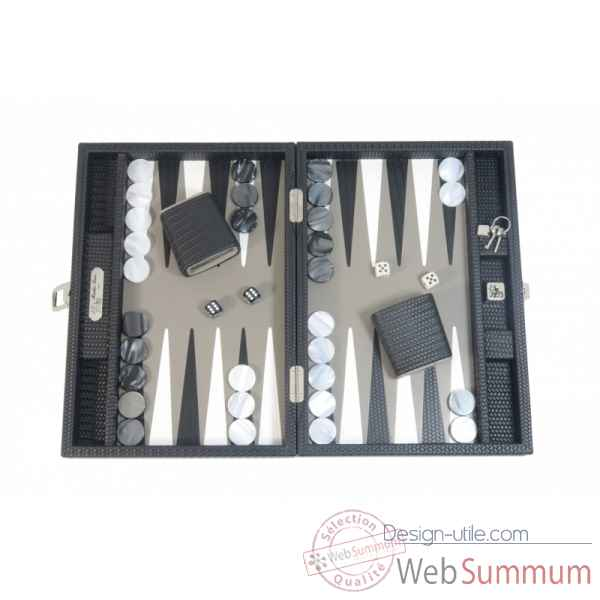 Backgammon camille cuir couture medium noir -B71L-n