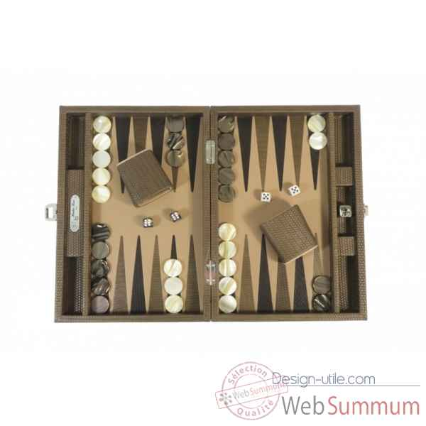 Backgammon camille cuir couture medium terre -B71L-t