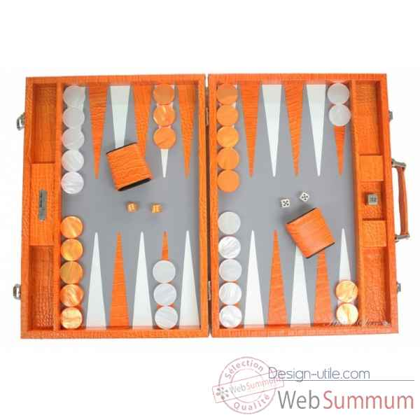 Backgammon charles cuir impression crocodile competition orange -B658-o