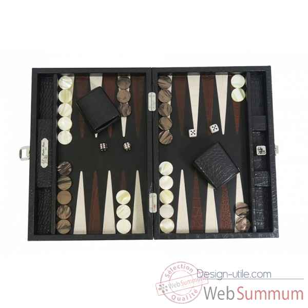 Backgammon charles cuir impression crocodile medium noir -B58L-n