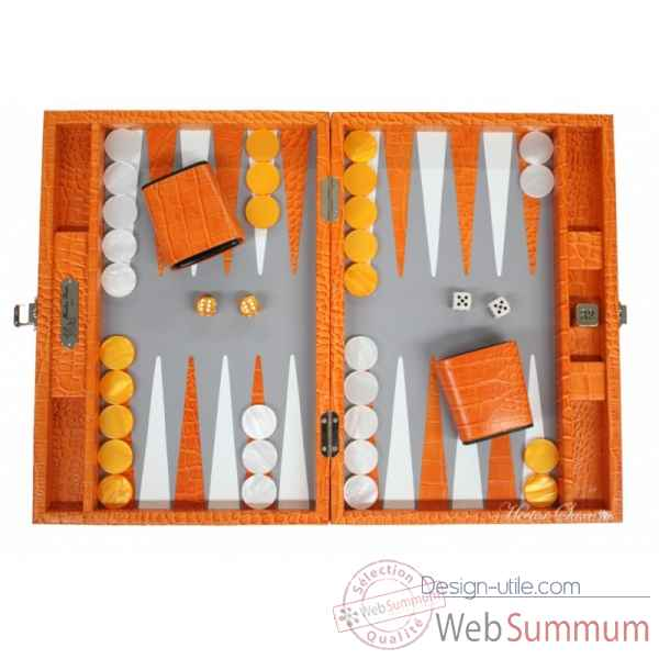Backgammon charles cuir impression crocodile medium orange -B58L-o