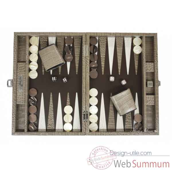 Backgammon charles cuir impression crocodile medium taupe -B58L-t