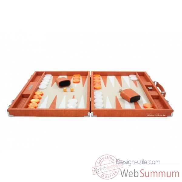Backgammon noe cuir natte competition orange -B667-o -11