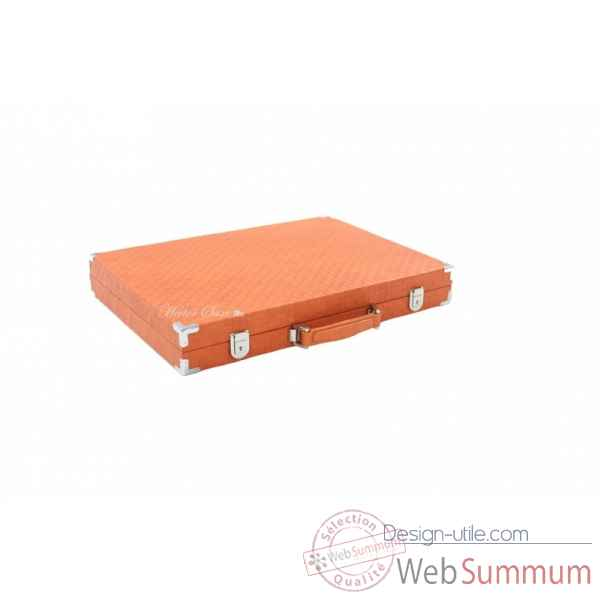 Backgammon noe cuir natte competition orange -B667-o -2