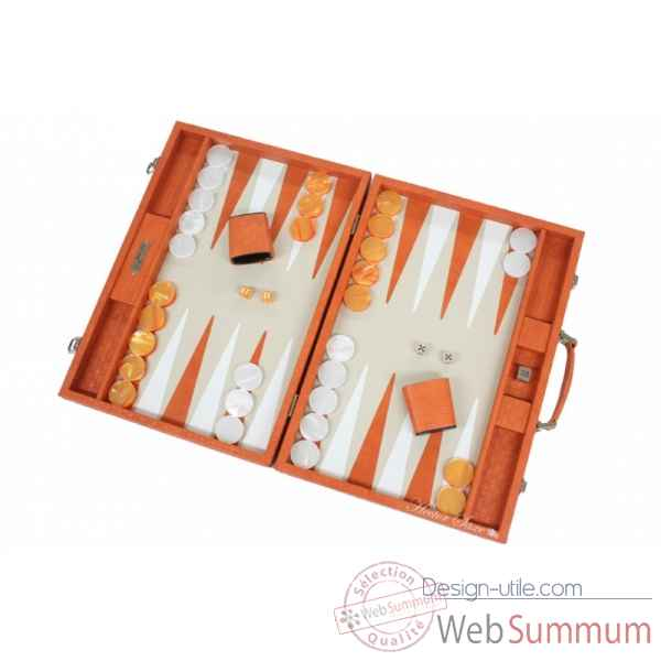 Backgammon noe cuir natte competition orange -B667-o -3