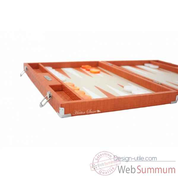 Backgammon noe cuir natte competition orange -B667-o -4