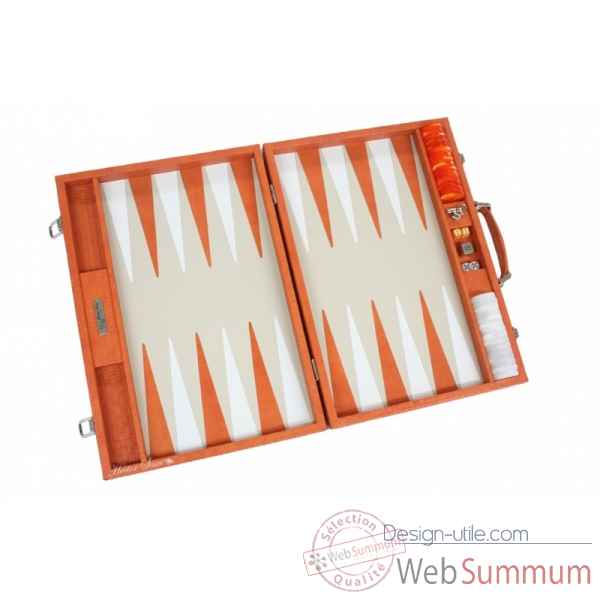 Backgammon noe cuir natte competition orange -B667-o -7