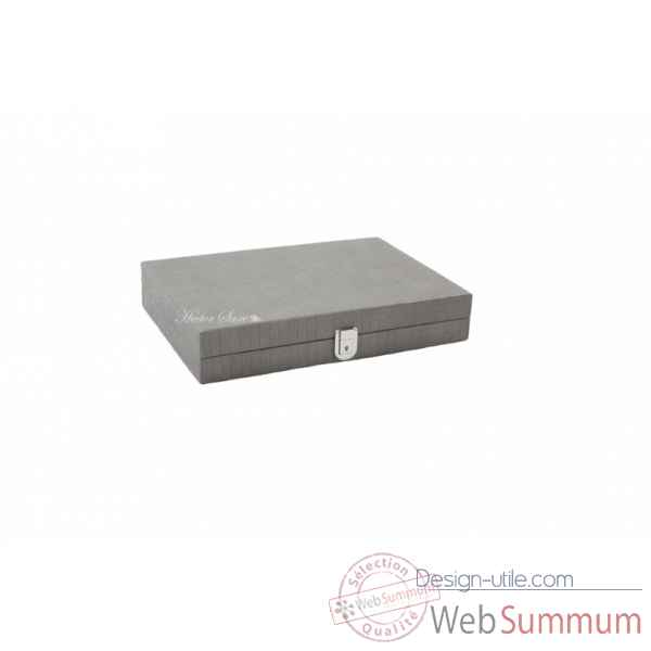 Backgammon noe cuir natte medium gris -B67L-g -1