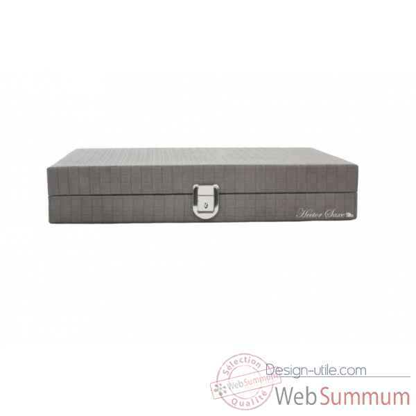 Backgammon noe cuir natte medium gris -B67L-g -2