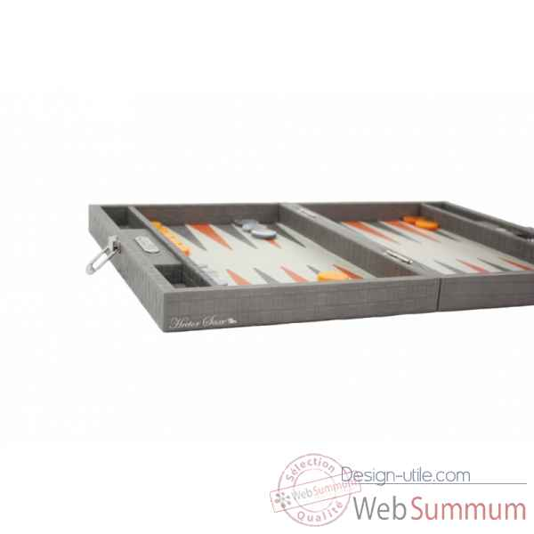 Backgammon noe cuir natte medium gris -B67L-g -3