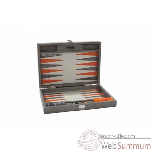 Backgammon noe cuir natte medium gris -B67L-g -7