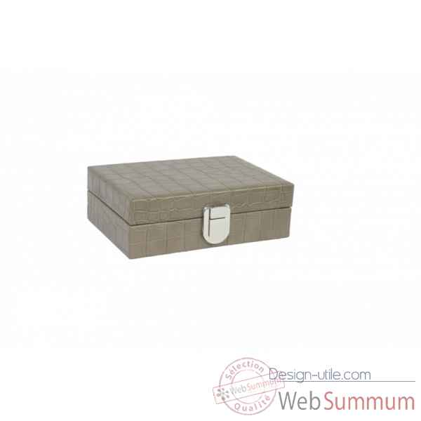Coffret dominos cuir impression crocodile taupe -DOM02-t -1