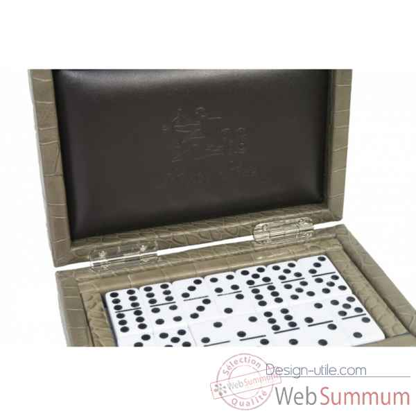 Coffret dominos cuir impression crocodile taupe -DOM02-t -3