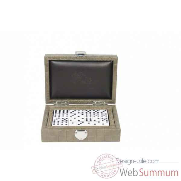 Coffret dominos cuir impression crocodile taupe -DOM02-t