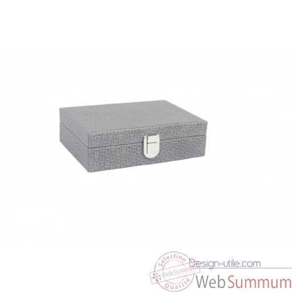 Coffret dominos deluxe cuir natte gris -DOM13-g -4