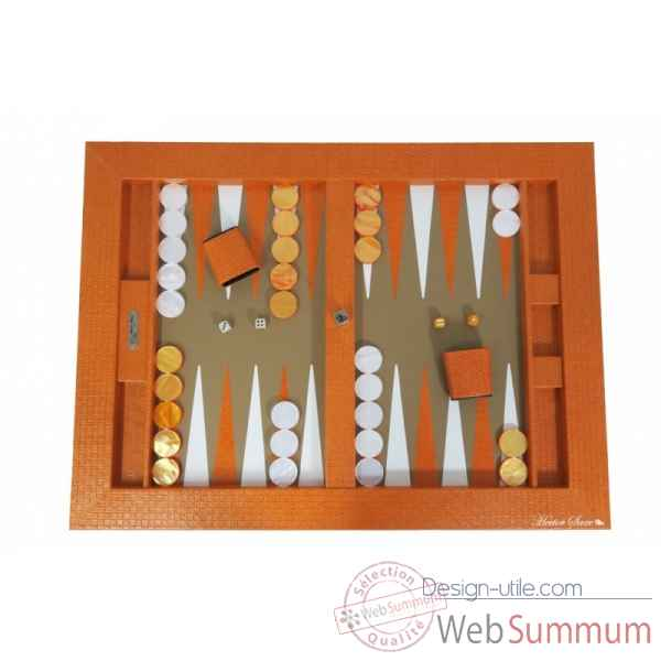 Plateau de backgammon cuir natte orange -B601003-o