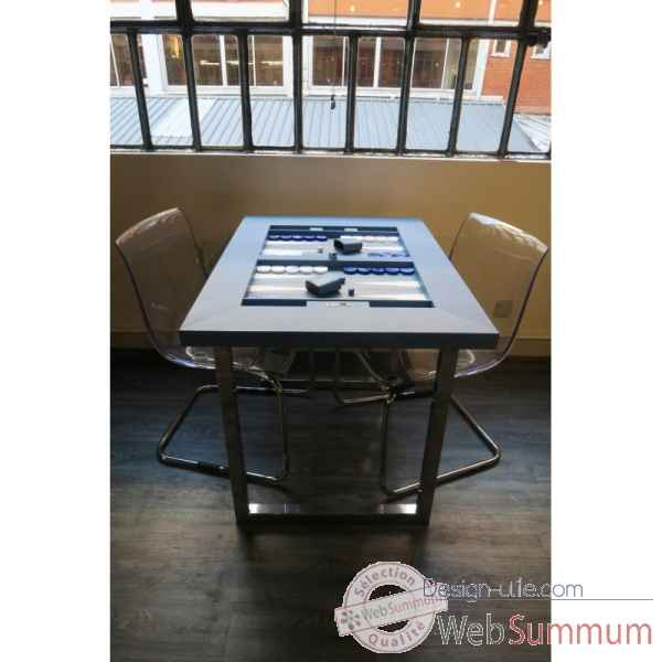 Table de backgammon cuir buffle bleu -TAB1001C-b